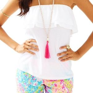 Lilly Pulitzer White Wiley Ruffle Tube Top XL